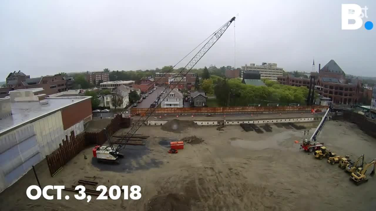 Work at the City Place Burlington  redevelopment site has been slow going, even at a standstill. Watch this time-lapse from Sept. 22 to Oct. 9, 2018.
