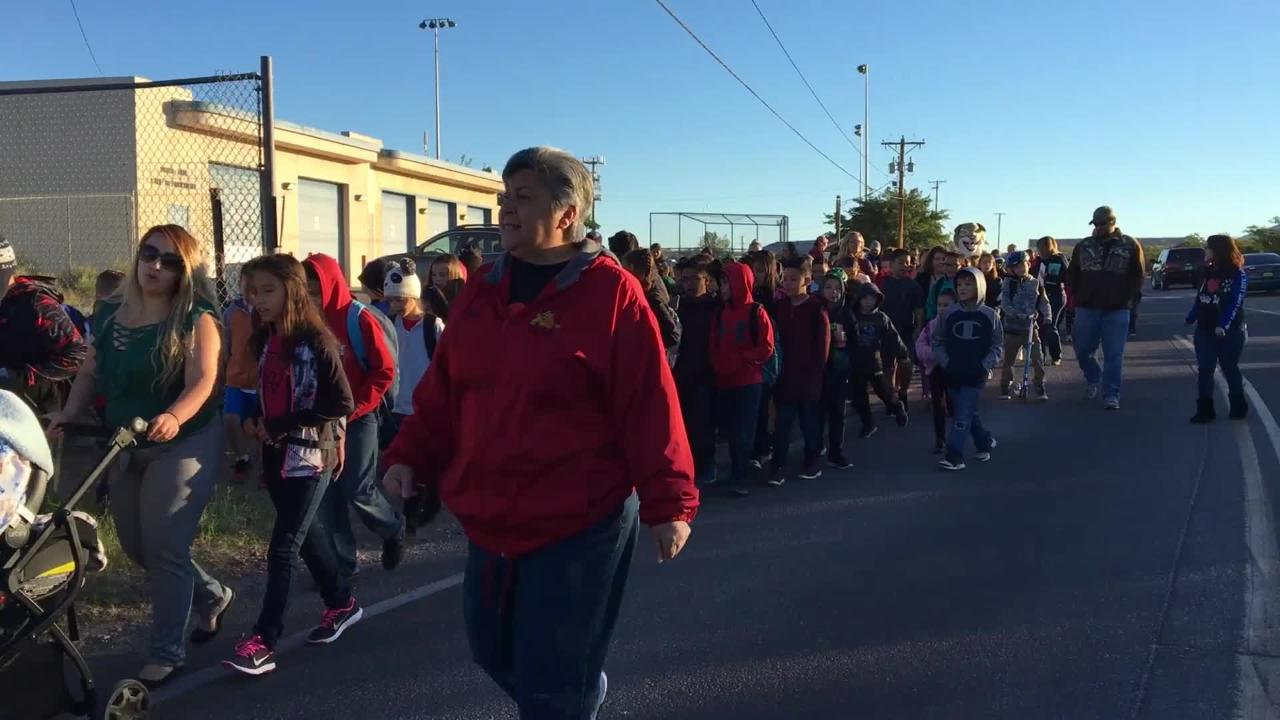 Doña Ana Elementary School students participate in the 2018 International Walk to School Day.