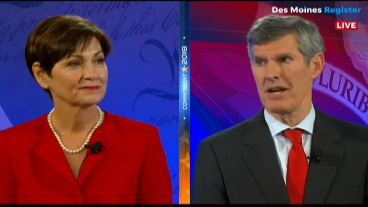 Gov. Kim Reynolds brought back her calls forFred Hubbell to release his taxes at Tuesday's governor debate.