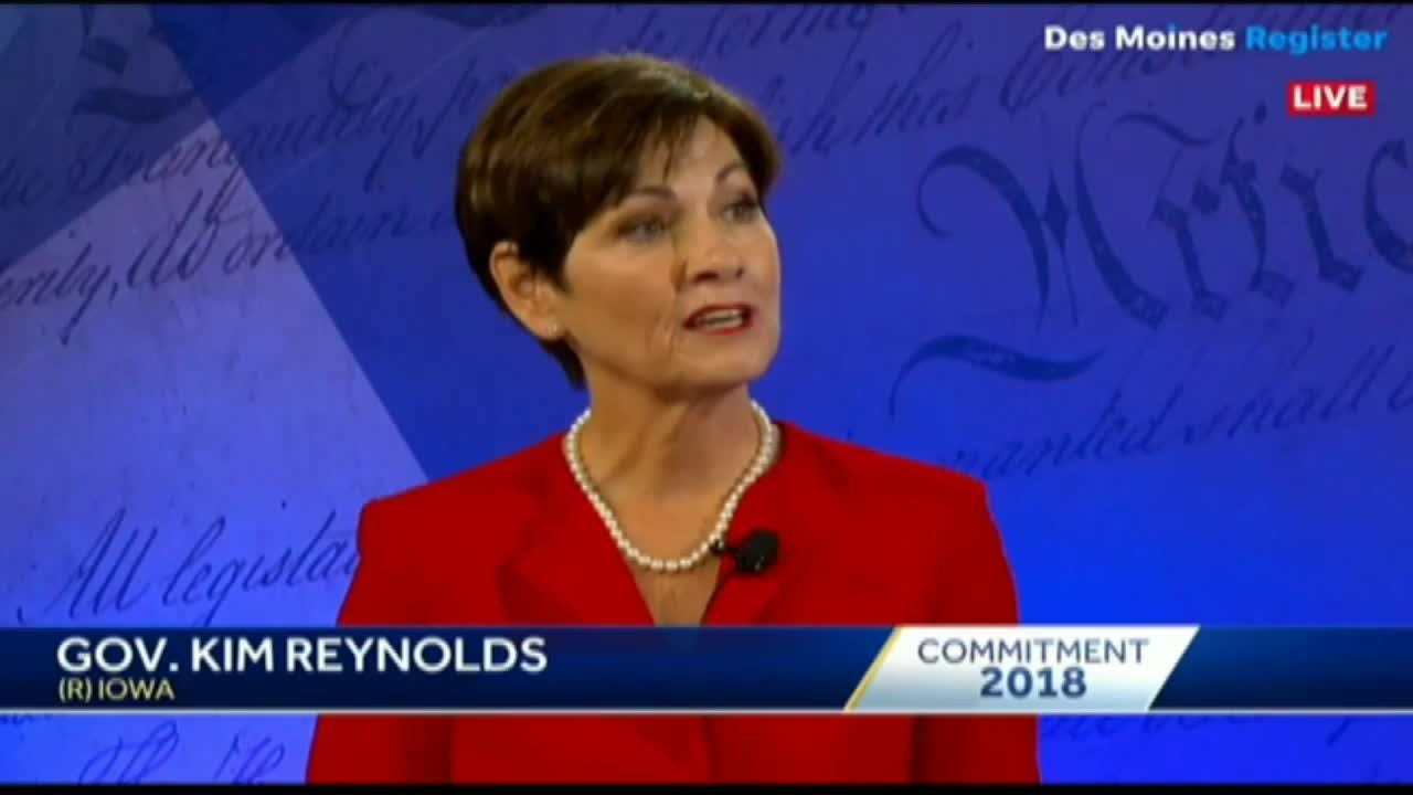 Republican Gov. Kim Reynolds and Democratic challenger Fred Hubbell took part in their first face-to-face debate Wednesday night.