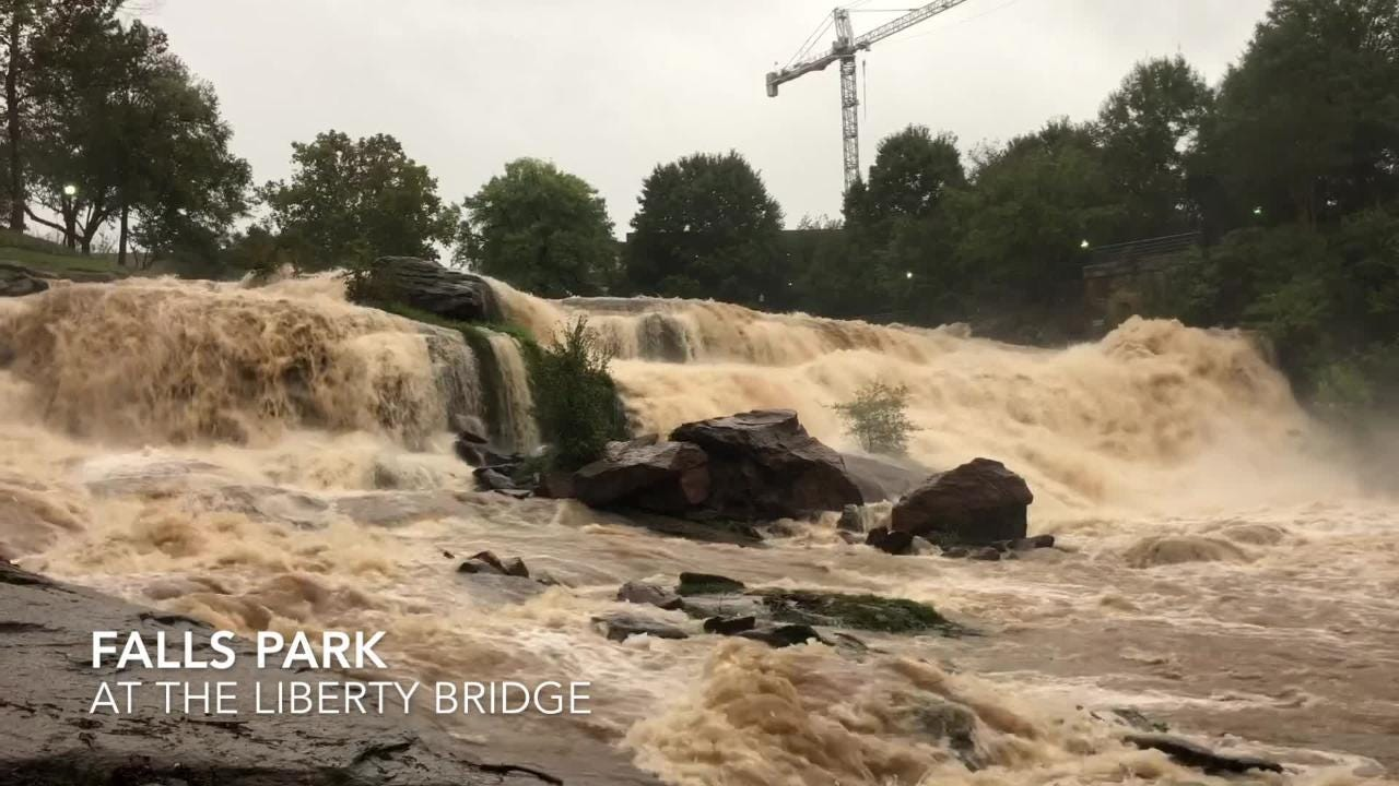As Tropical Storm Michael moves through the Upstate, it's impact is undeniable at the Reedy River in downtown Greenville, S.C.
