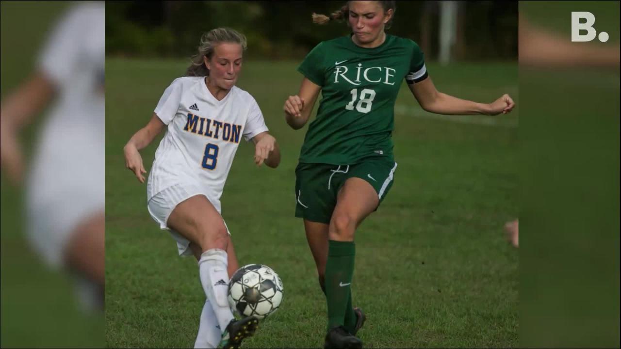 Milton girls soccer kept the pressure on against Rice in South Burlington on Wednesday, Oct. 10, 2018, winning 2-1.