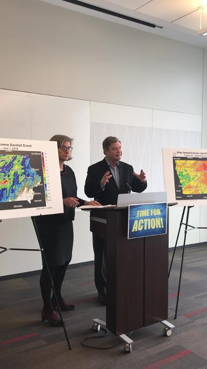 Ulrike Passe and Jerry Schnoor say building design must take extreme weather events into account in Iowa, Thursday, at the Cedar Rapids Public Library.