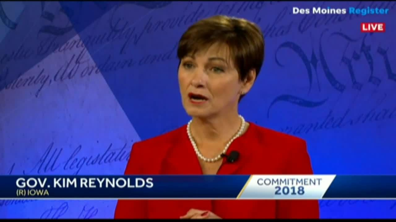 Gov. Kim Reynolds pauses answering question on who she disagrees with in her party