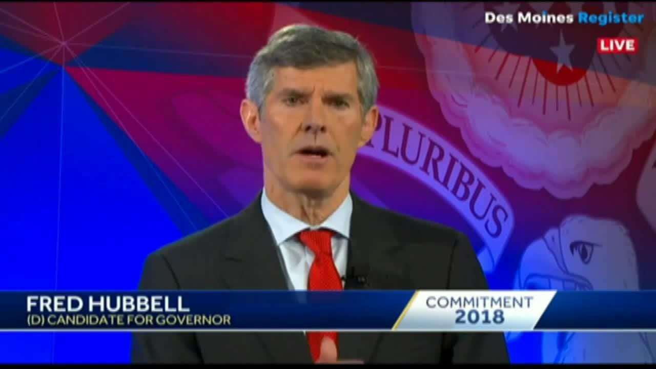 In his closing remarks, Iowa governor candidate Fred Hubbell talks about how the 1981 airline hijacking influenced his life.