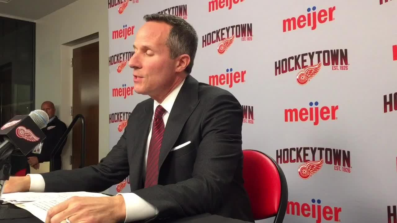 Ilitch Holdings president and Detroit Red Wings owner Chris Ilitch talked about what numbers to retire, state of rebuild on Oct. 11, 2018 in Detroit.