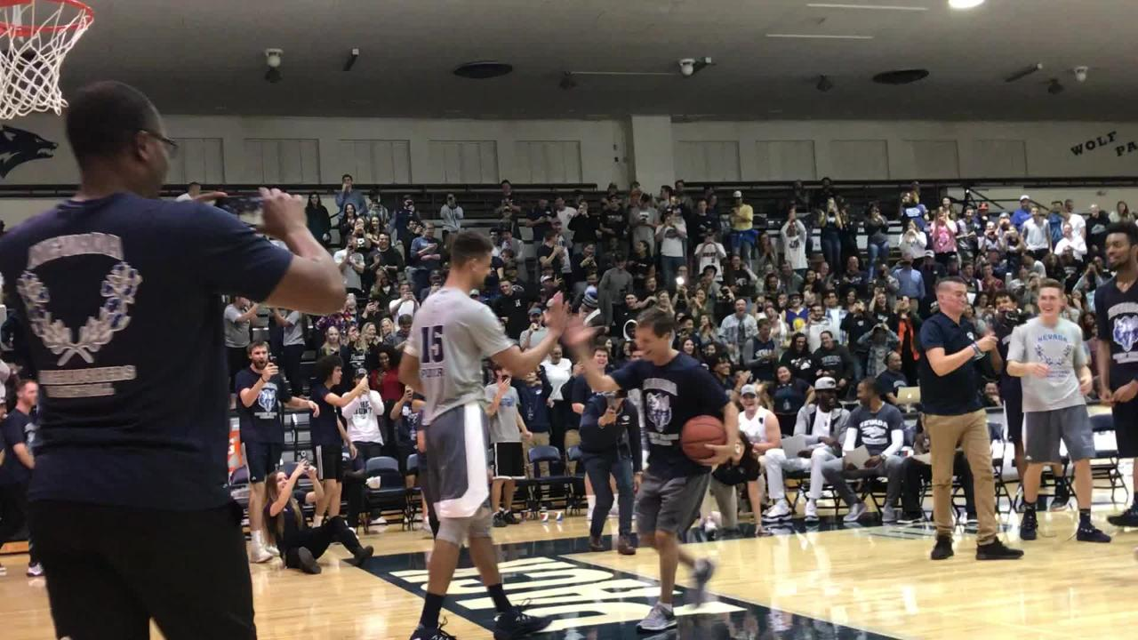 Nevada's Trey Porter wowed the crowd by going up and over his coach during the Wolf Pack's scrimmage festivities.