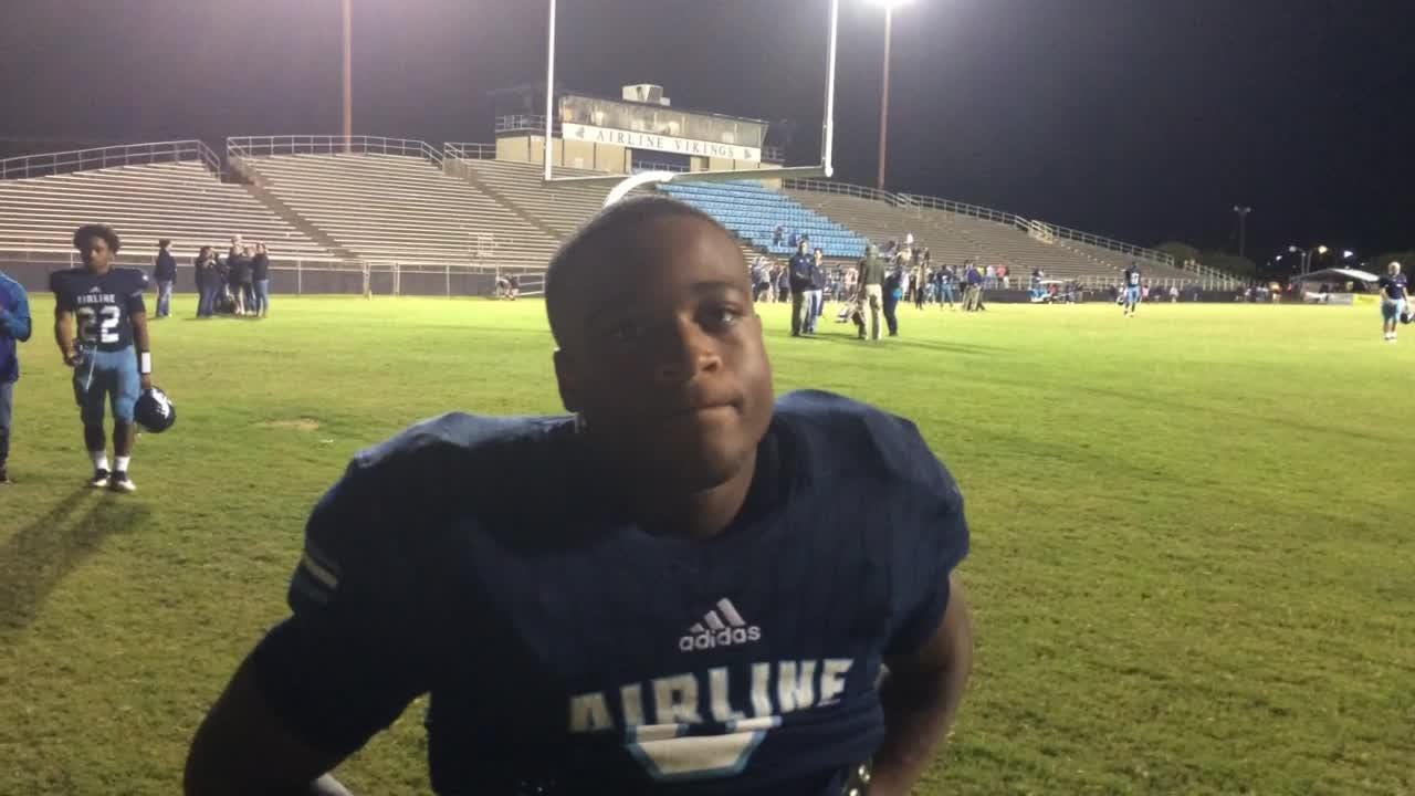 Jamal Johnson talks about Airline's 56-6 win over North Webster.