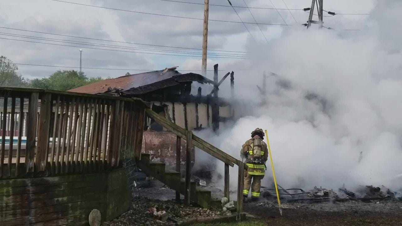 Firefighters from South Zanesville, Roseville and Crooksville assisted Newton Township Friday afternoon extinguishing a garage fire at Third and Elm.