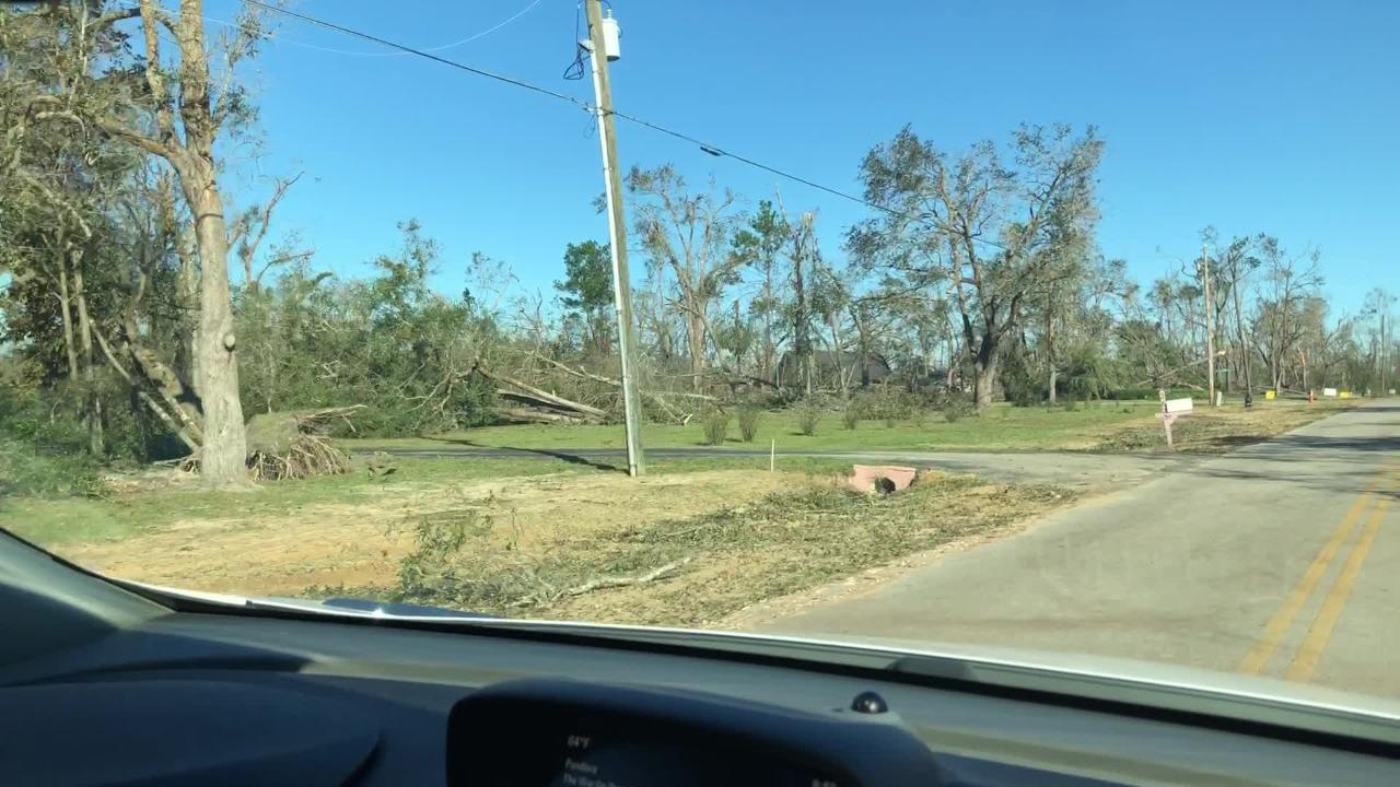 Marianna, Fla. homes are difficult to spot amongst the trees uprooted by Hurricane Michael on Friday, Oct. 12, 2018.