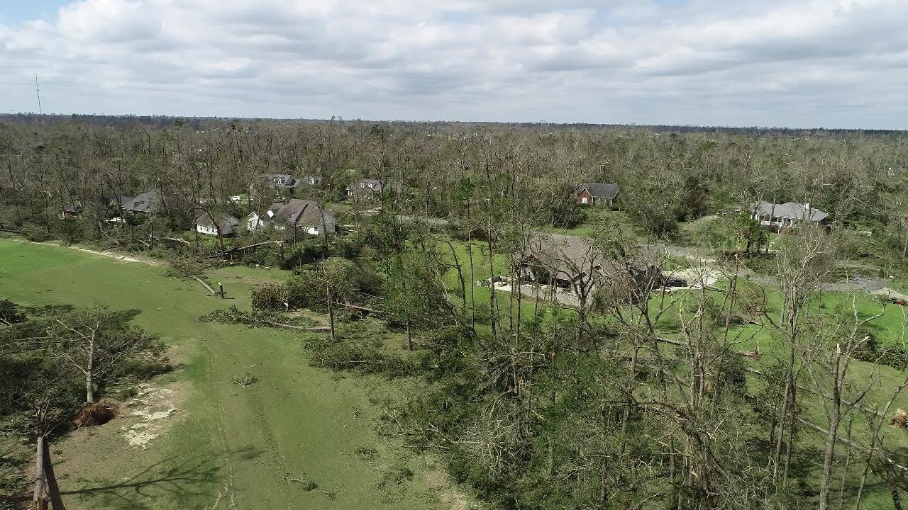 Drone footage of Indian Springs subdivision in Marianna, Fla. after Hurricane Michael taken on Wednesday, Oct. 10, 2018.