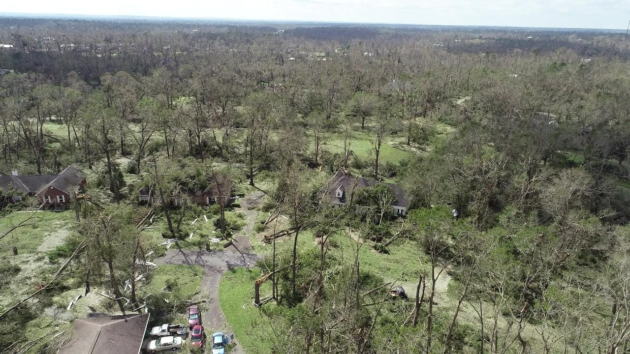 Overhead footage of Indian Springs, a subdivision in Marianna, Fla. after Hurricane Michael taken on Wednesday, Oct. 10, 2018.