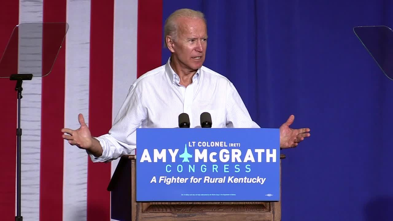 In his speech to Amy McGrath supporters at Bath County High School, former VP Joe Biden said that American values are under assault.