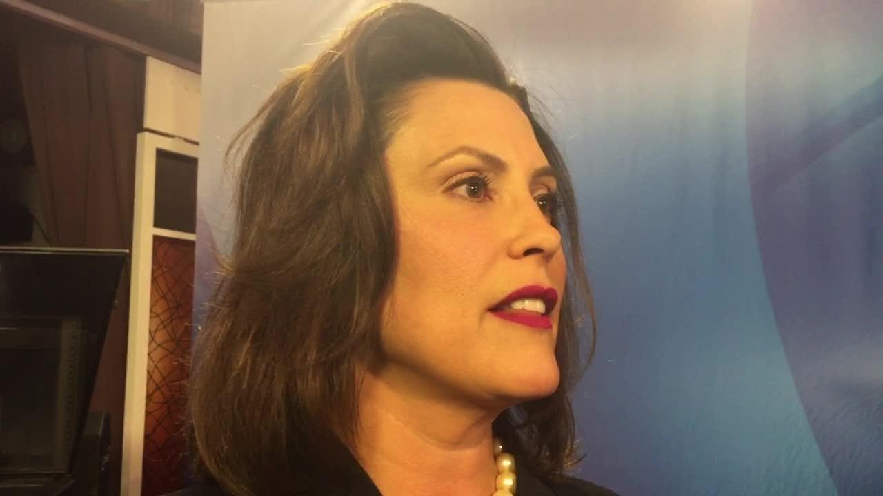 Democrat Gretchen Whitmer reacts to her first televised debate with Bill Schuette.