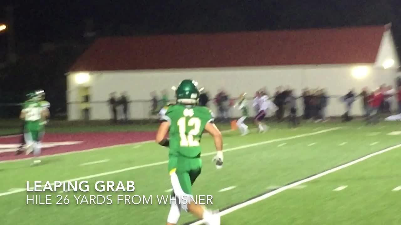Chase Whisner passed for 203 yards and three touchdowns to Ethan Hile, as visiting Licking Valley overpowered Newark Catholic 35-0 at White Field.