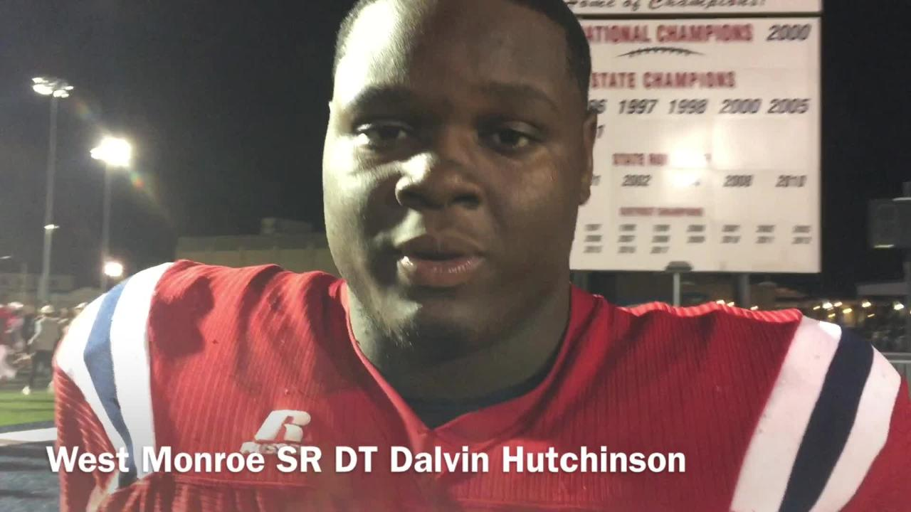 West Monroe senior defensive tackle Dalvin Hutchinson assesses the defense's performance in win over Alexandria Friday night.