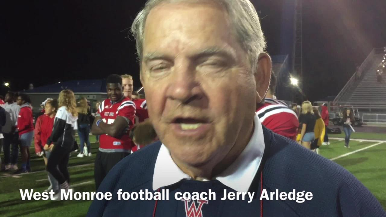 West Monroe head football coach Jerry Arledge details the defense's performace against Alexandria Friday night.