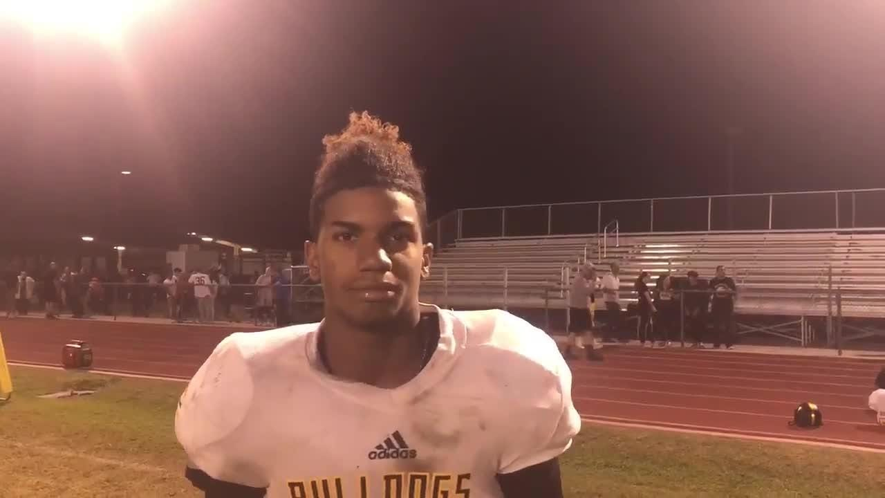 Barry Goldwater running back Rascheed Sterling after his 12 carries 172 yards rushing and three touchdown performance