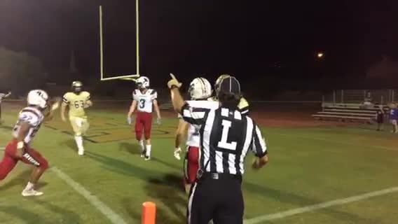 Desert Vista Freshman running back Devon Grubbs scores his fifth touchdown against Boulder Creek.