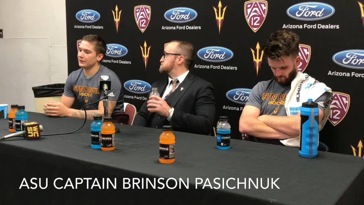 ASU hockey coach Greg Powers and players after 3-2 loss to No. 1 Ohio State