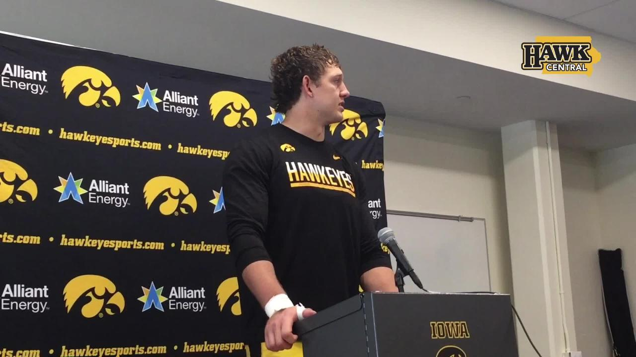 Iowa tight end T.J. Hockenson had four catches for 107 yards and two touchdowns in a 42-16 win at Indiana.