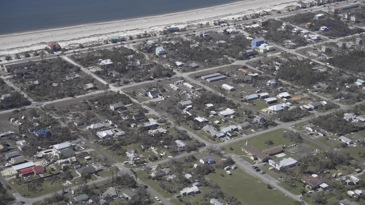 The Civil Air Patrol assesses damage from Hurricane Michael in Panama City and Mexico Beach on Saturday, Oct. 13, 2018.