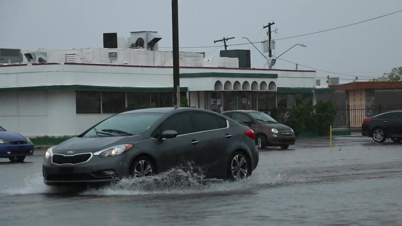 Phoenix drivers faced flooding on roads after remnants of Hurricane Sergio stormed the city, Saturday, October  13, 2018.