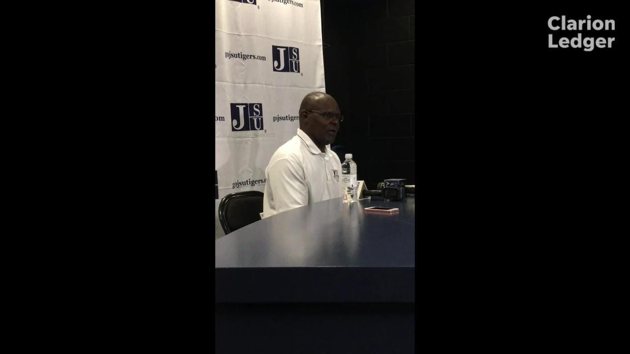 Jackson State head coach Tony Hughes answers media questions after a 23-7 homecoming win over Mississippi Valley State