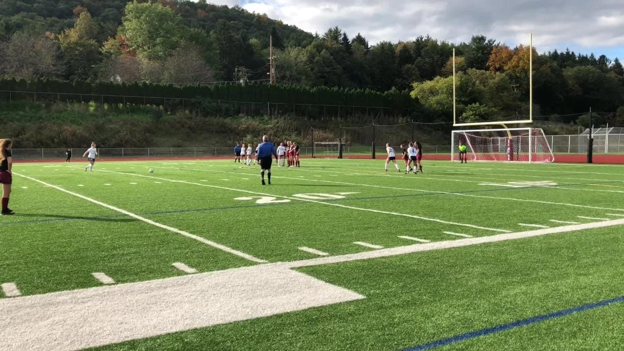 Emma Bough scored three goals for Chenango Forks in a 5-0 win over Elmira in a STAC semifinal Oct. 13, 2018 at Ernie Davis Academy.
