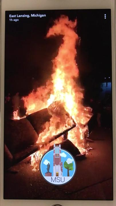 Michigan State fans celebrate the only way they know how - burning couches - after beating Penn State on Saturday. Video pulled from Snapchat.