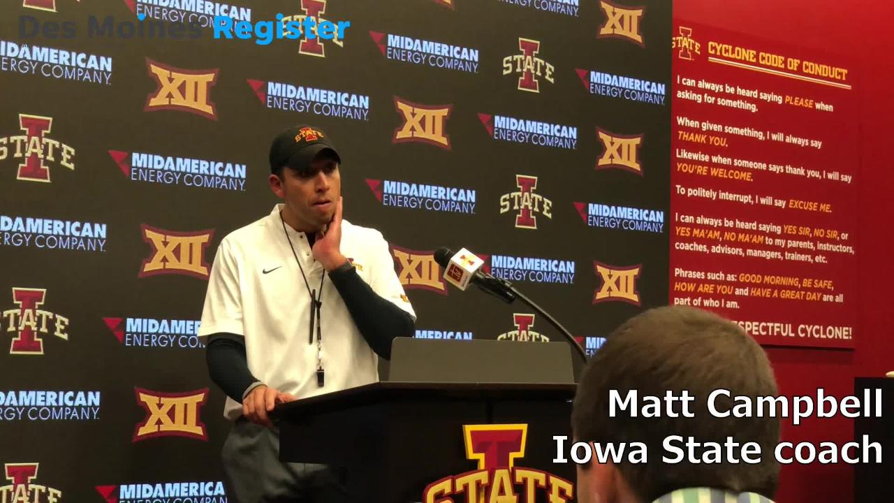 Iowa State football coach Matt Campbell talked about the Cyclones' pass rush after a 30-14 win over No. 6 West Virginia on Saturday.