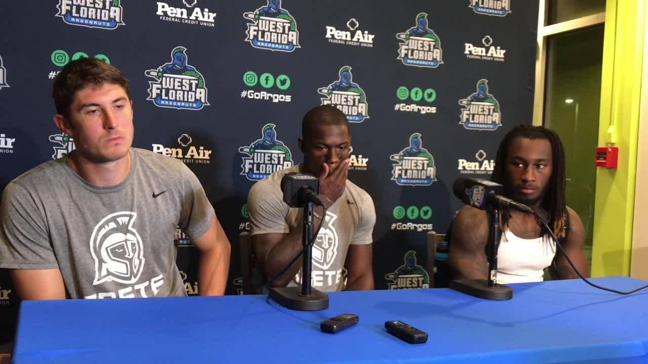 Sam Vaughn, Jamel Jackson and Marvin Conley talk Saturday's 27-7 loss to West Georgia at Blue Wahoos Stadium.