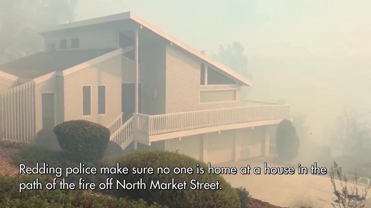 Masonic Fire burns South of Lake Boulevard in Redding on Oct. 14, 2018.
