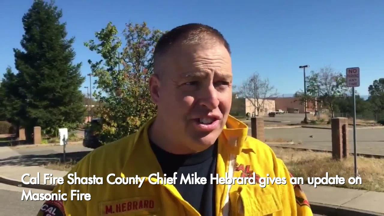 Shasta County Cal Fire Chief Mike Hebrard gives an update on progress fighting the Masonic Fire.