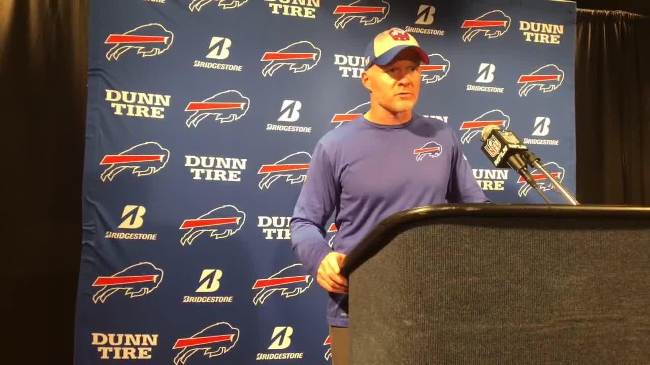 Buffalo coach Sean McDermott addresses the media after the Bills' 20-13 loss to the Houston Texans.