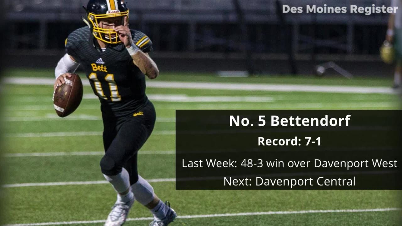 The Des Moines Register's High School Football Super 10 Rankings for Week 9 of the 2018 regular season.