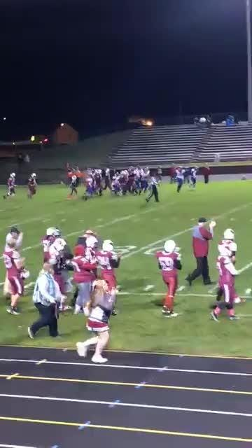See Mason players help Orchard View senior Fletcher Payne, a special needs student with autism, run into the end zone for a TD on Friday.