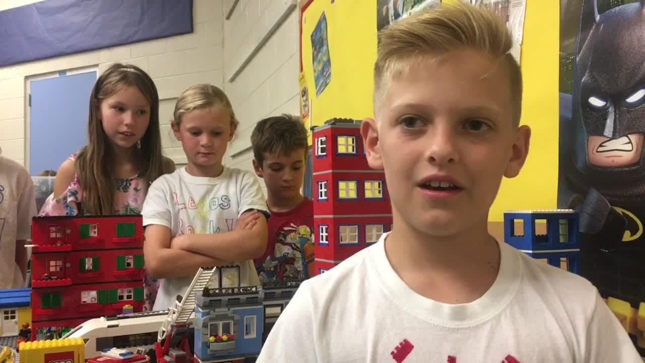 A group of students in the after-school program at Roosevelt Elementary School in Cocoa Beach used Legos to learn about their environment.