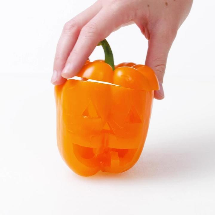 Try this recipe for chicken and rice stuffed peppers with a Halloween twist.