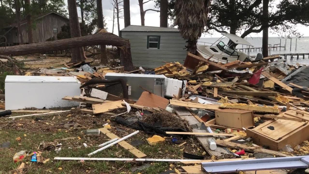 What was once a home in Lanark, Fla. is now a pile of rubbish on Monday, Oct. 15, 2018.