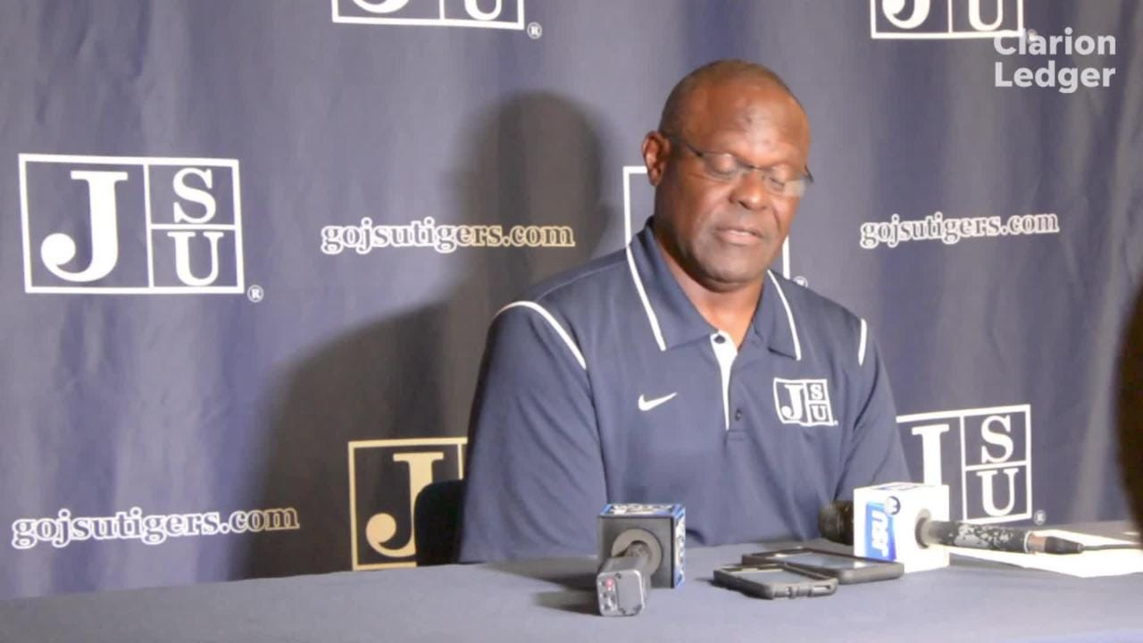 Jackson State head coach Tony Hughes addresses the media on Monday, October 15, during his weekly press conference.