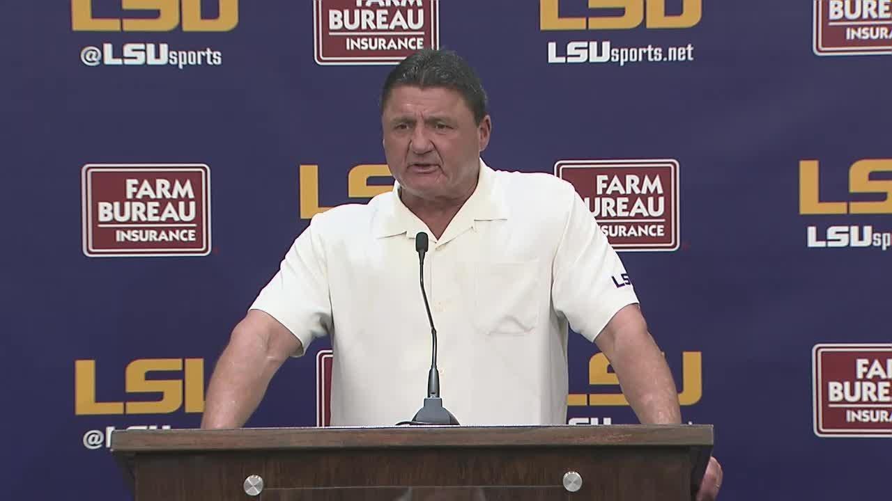 Ed Orgeron talks about LSU win over Georgia