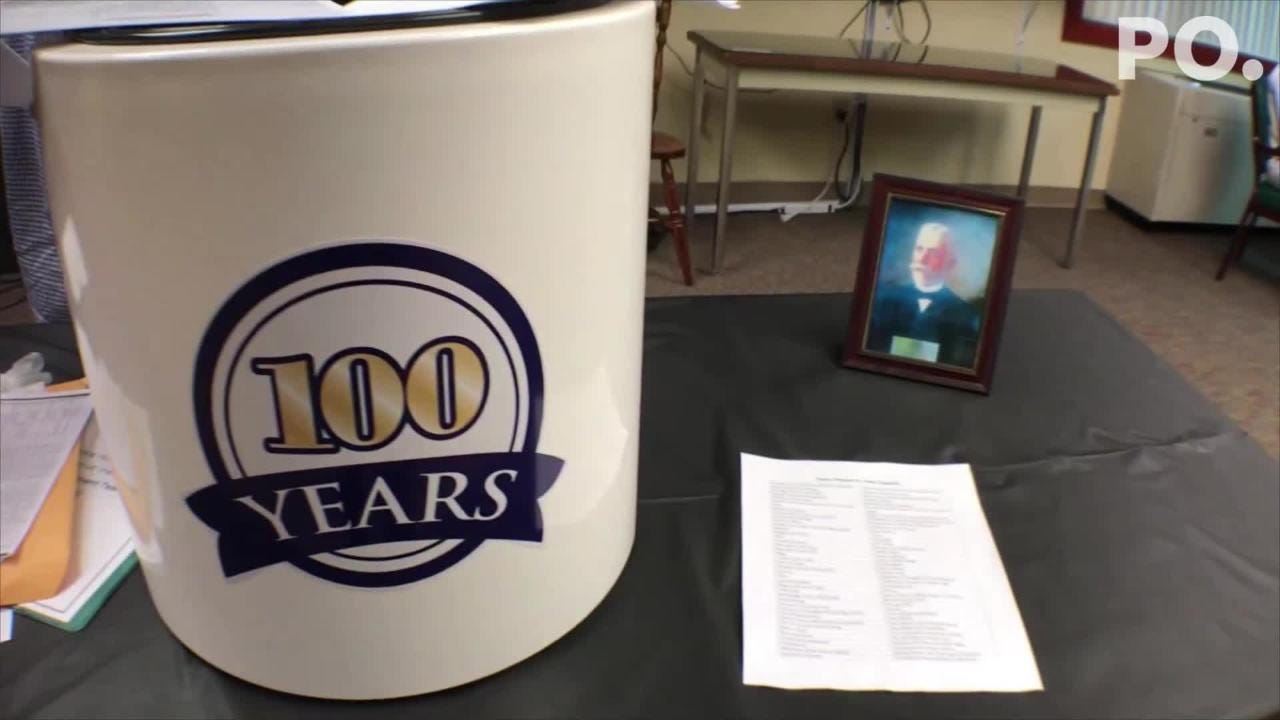 The Shook Home in downtown Chambersburg, Pa. celebrates 100 years of nursing care and residential living by burying a time capsule. The capsule will be opened in the year 2118 and includes artifacts from today.