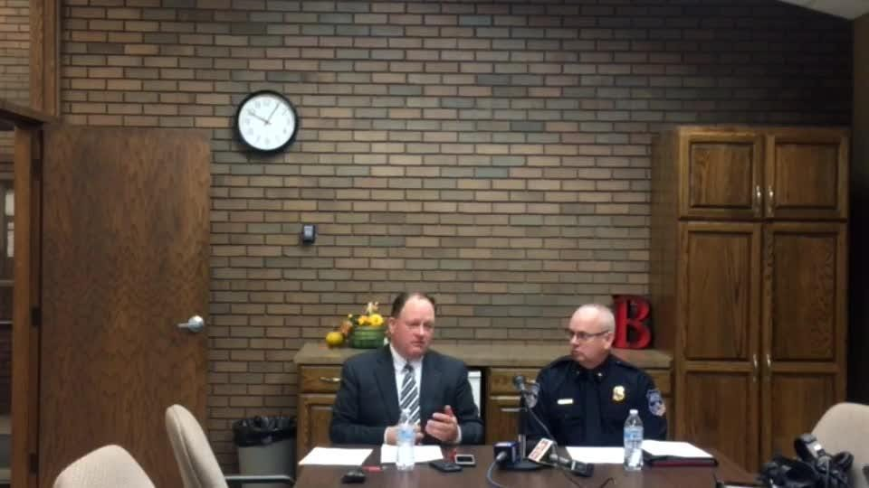 Superintendent Klint Willert and Brookings Police Chief Dave Erickson provide updates on a note that was found at the high school on Monday.