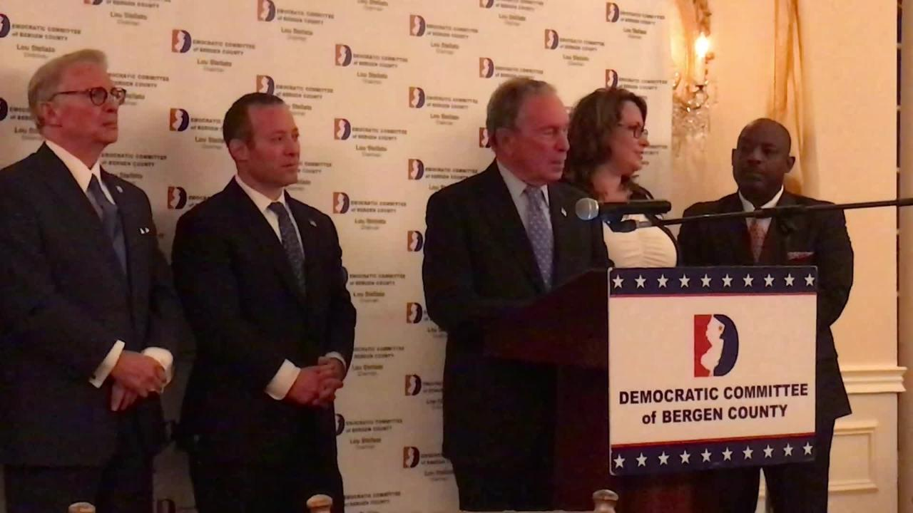 Mike Bloomberg, the former Republican mayor of New York, has switched parties and recently spoke to Bergen County Democrats about the 2018 election.