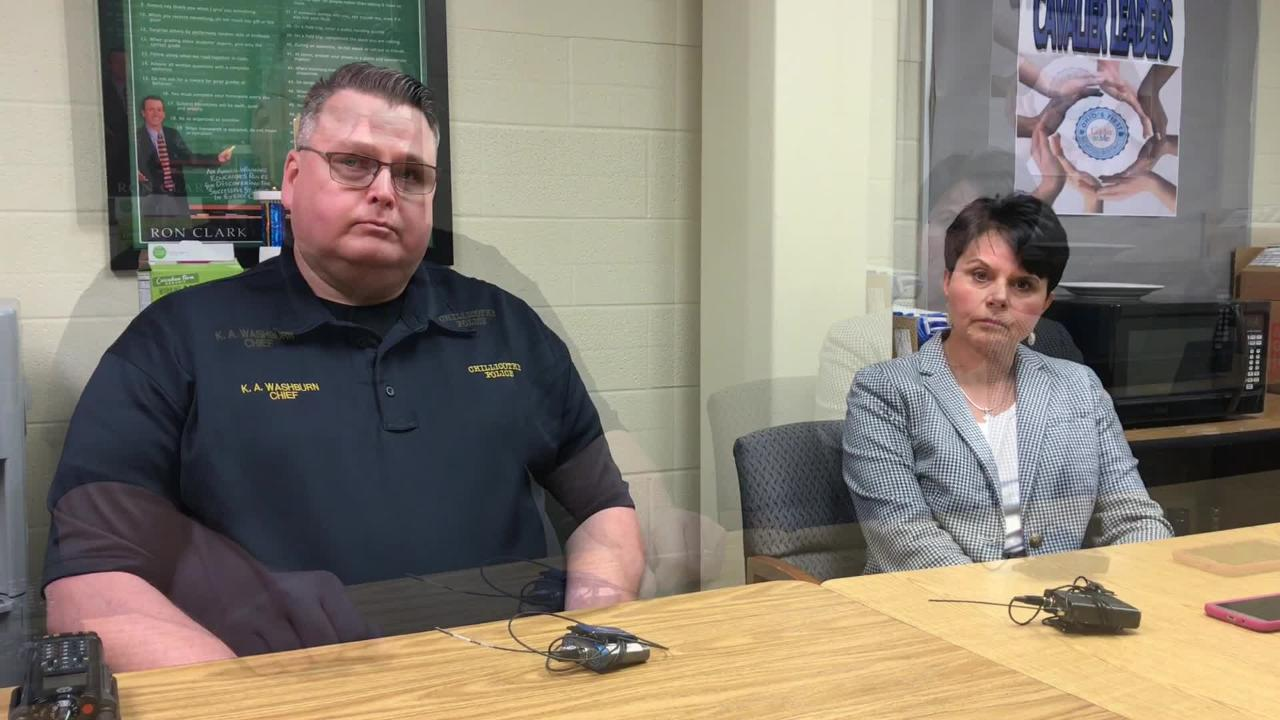 Chillicothe Police Chief Keith Washburn talks about a gun and ammunition found in a locker at Chillicothe Middle School.
