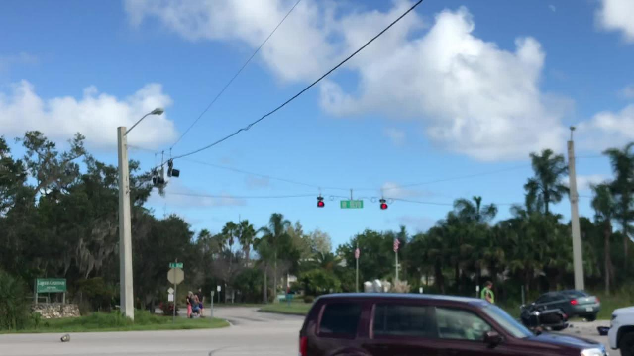 Traffic was backed up after a motorcycle and another vehicle crashed Tuesday afternoon, Oct. 16, 2018, at Indian River Boulevard and Eighth Street.