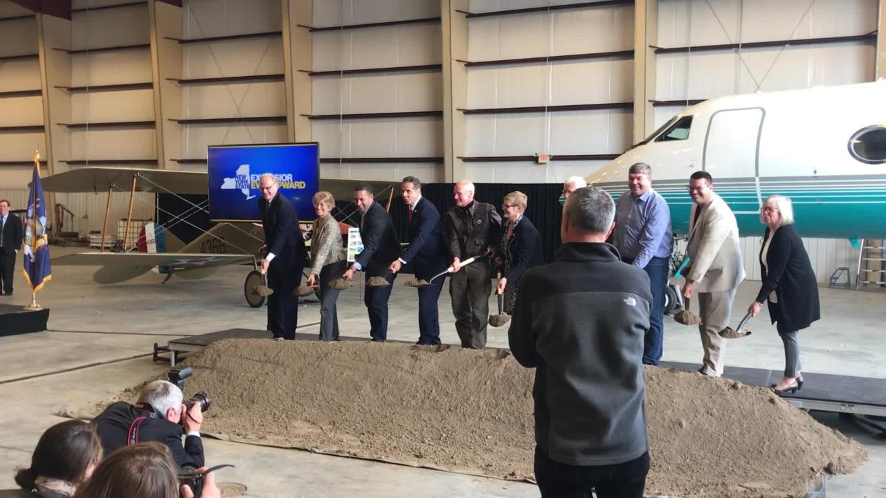 Gov. Andrew Cuomo appeared in Ithaca Tuesday at the groundbreaking of the Tompkins Ithaca Regional Airport.