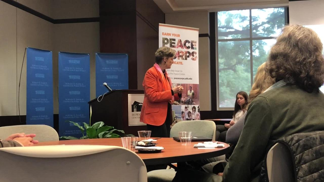 Jody Olsen, director of the Peace Corps, visited the University of Tennessee, Knoxville, on Tuesday to launch the Peace Corps Prep program.