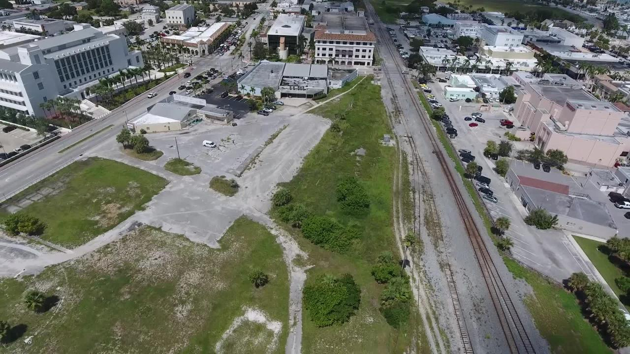 Aerial video shows the possible site for a new Brightline Station in downtown Fort Pierce.